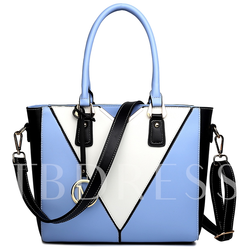 Trendy Color Block Stitching PU Tote Bag