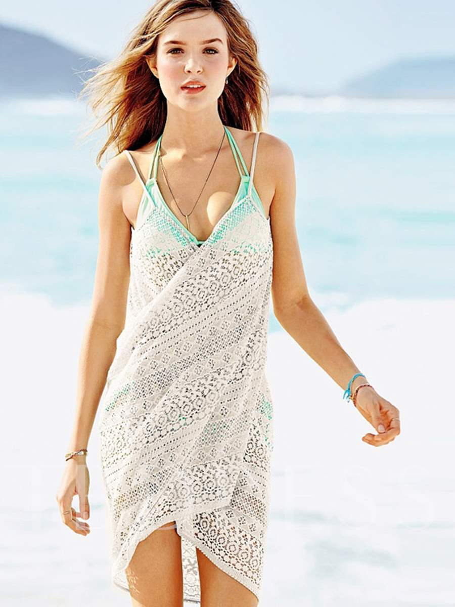 Plain Jacquard Backless Beach Cover-Up