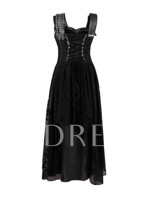 Black Asym Tiered Women's Maxi Dress