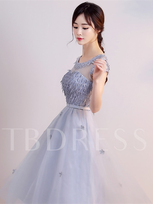 A-Line Sashes Flowers Cap Sleeves Scoop Knee-Length Homecoming Dress