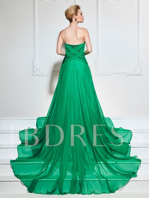 Sweetheart A-Line Ruched Beading Sleeveless Court Train Evening Dress
