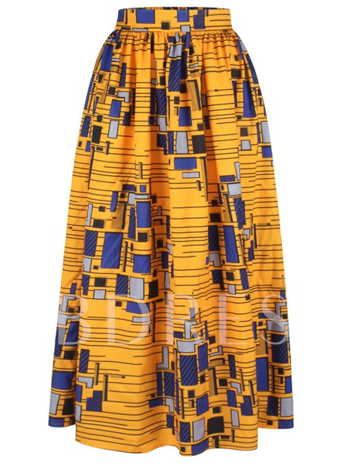 High Waist Pleated Printing Floor-Length Women's Skirt