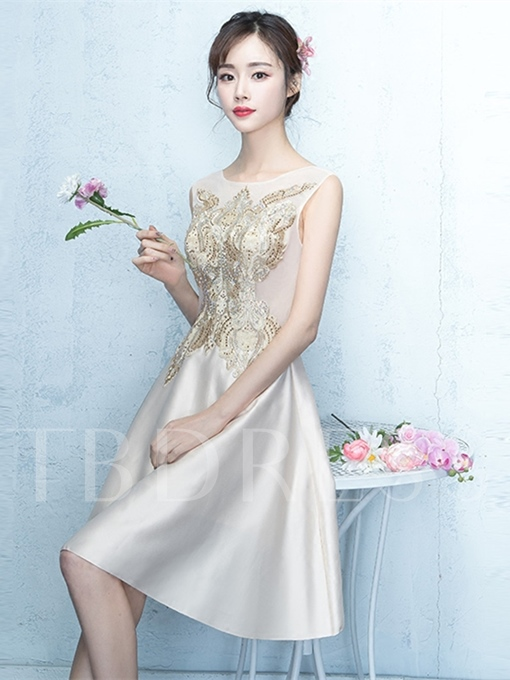 Scoop Emboridery Beading A-Line Sleeveless Homecoming Dress