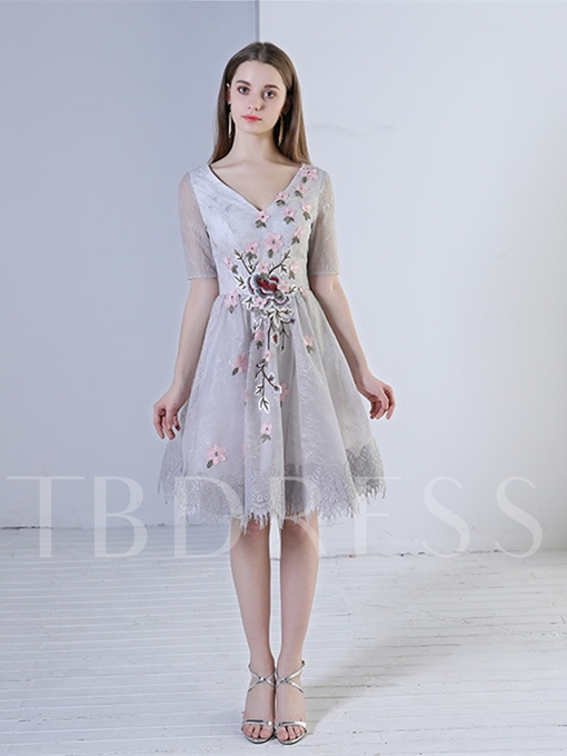 V-Neck Beading Embroidery Lace Flowers Homecoming Dress