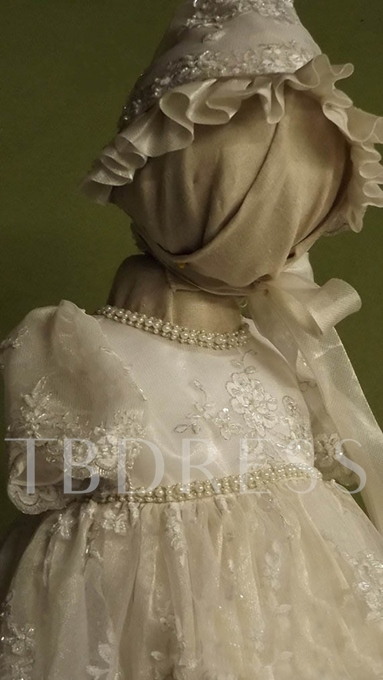 Lace Bonnet Beading Scoop Baptism Christening Gown for Girls