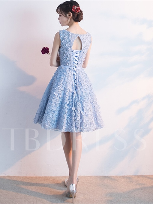 A-Line Bowknot Sleeveless Lace Sashes Knee-Length Homecoming Dress