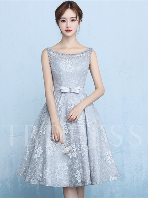 Scoop Beading Sashes Bowknot A-Line Lace Knee-Length Homecoming Dress
