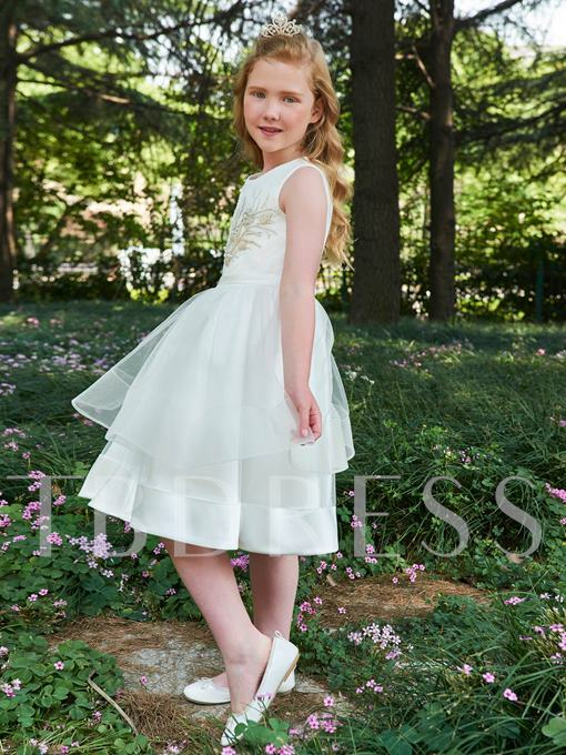 Lace Beading Knee-Length Flower Girl Dress