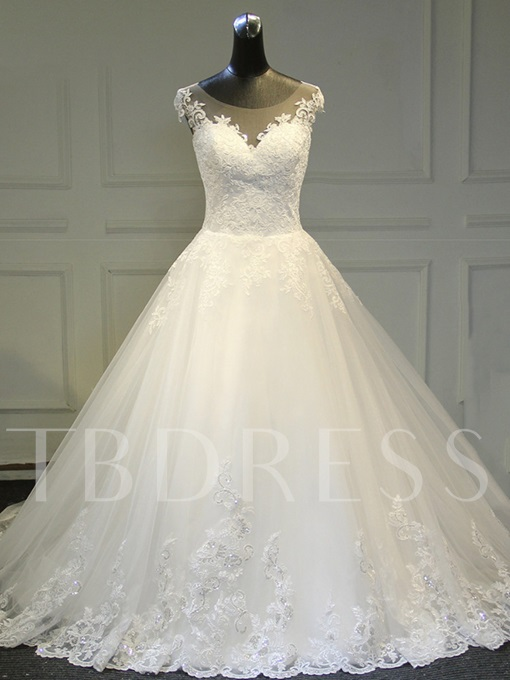 Cap Sleeve Sheer Neck Appliques Wedding Dress