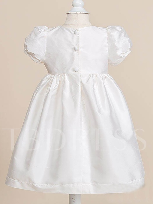 Short Sleeves Lace Button Baby Girls 2 Pieces Christening Gown