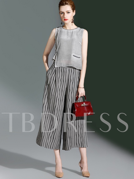 Round Collar Sleeveless Stripe Lace-Up Women's Pants Suit
