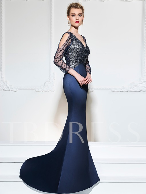 V-Neck Button Mermaid Sequins Beading Sweep Train Evening Dress