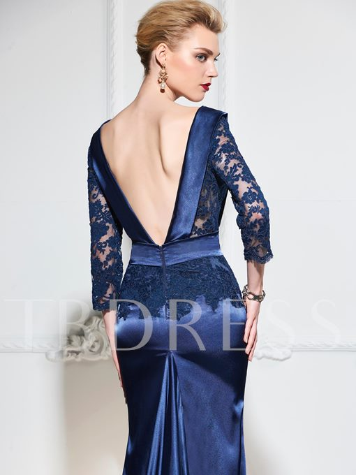 Bowknot Mermaid V-Neck Lace Backless Court Train Evening Dress