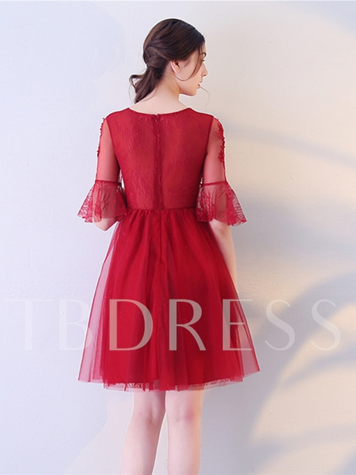 Jewel Half Sleeves Appliques A-Line Lace Mini Homecoming Dress