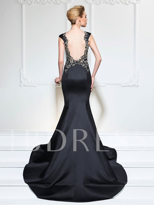 Bateau Mermaid Beaded Cap Sleeves Court Train Evening Dress