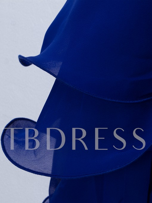 Royal Blue Backless Tiered Women's Day Dress