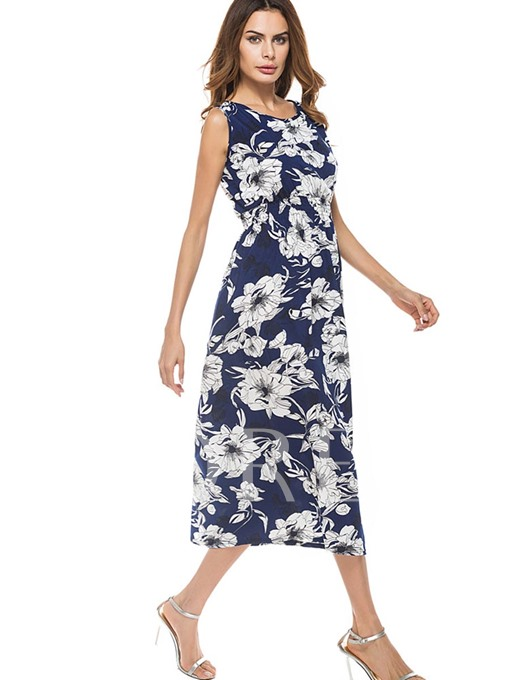 Sleeveless Floral Printed Women's Maxi Dress