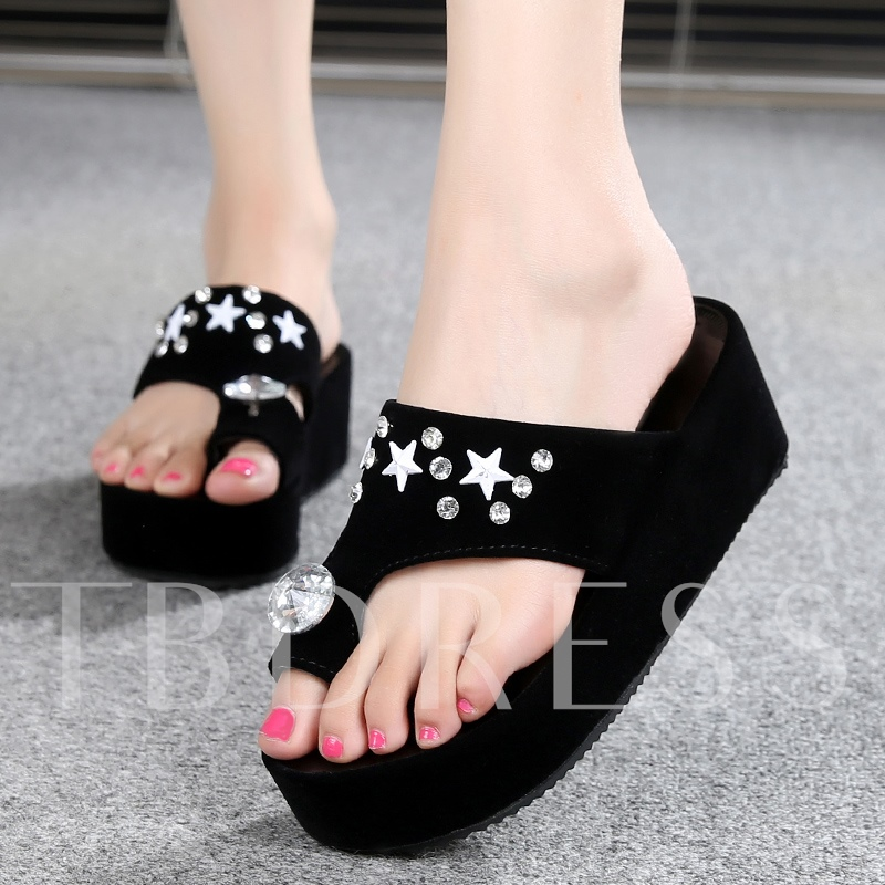 Platform Toe Ring Slip-On Rhinestone Women's Sandals