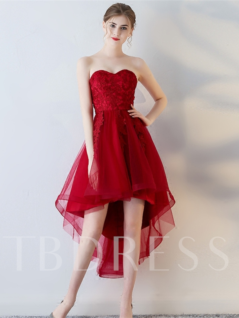 A-Line Short Sleeves Appliques Sweetheart Asymmetry Homecoming Dress