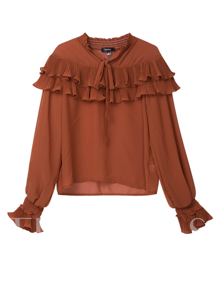 Layered Frill Stand Collar Plain Women's Blouse