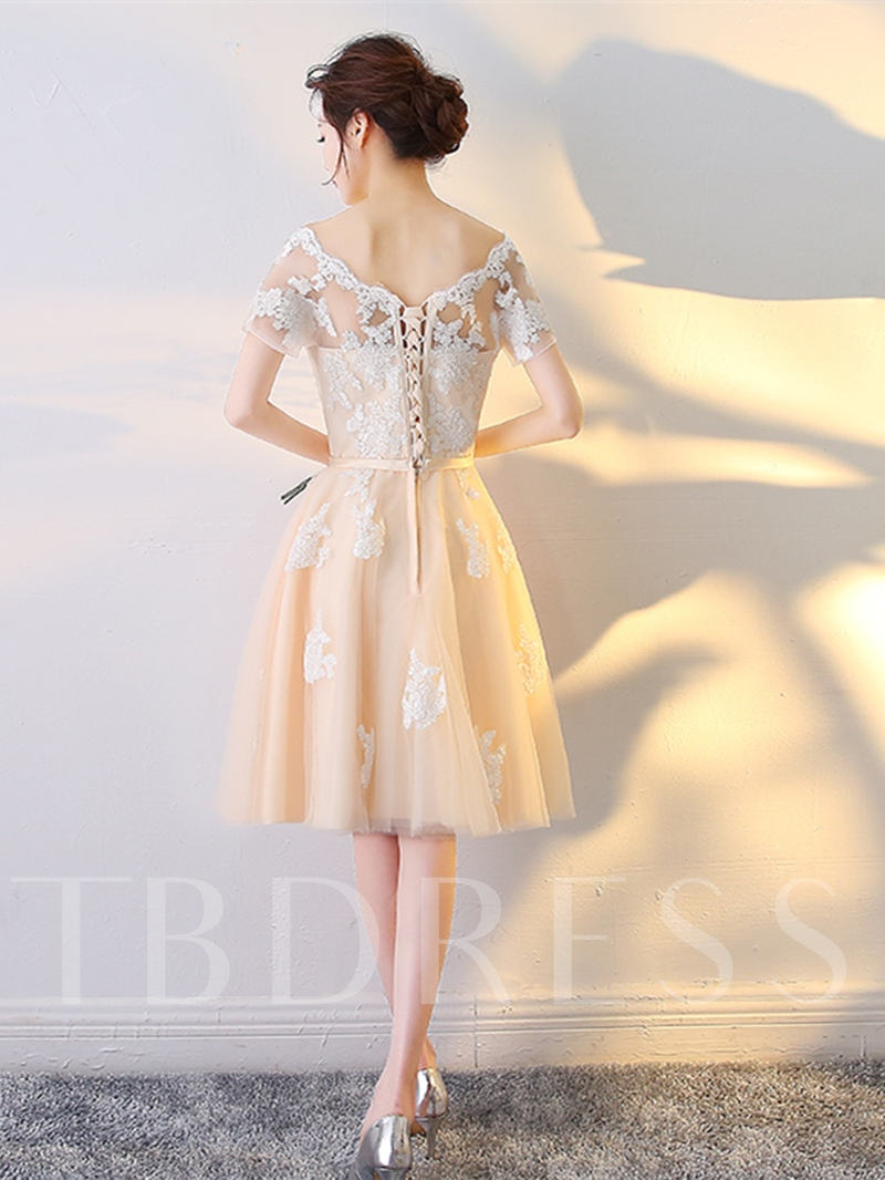 A-Line Appliques Short Sleeves Sashes Off-the-Shoulder Knee-Length Homecoming Dress