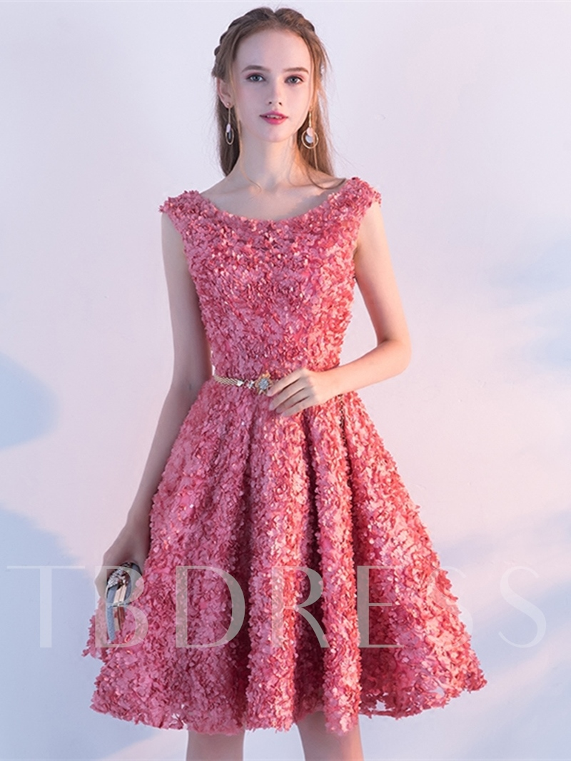 A-Line Sashes Lace Homecoming Dress