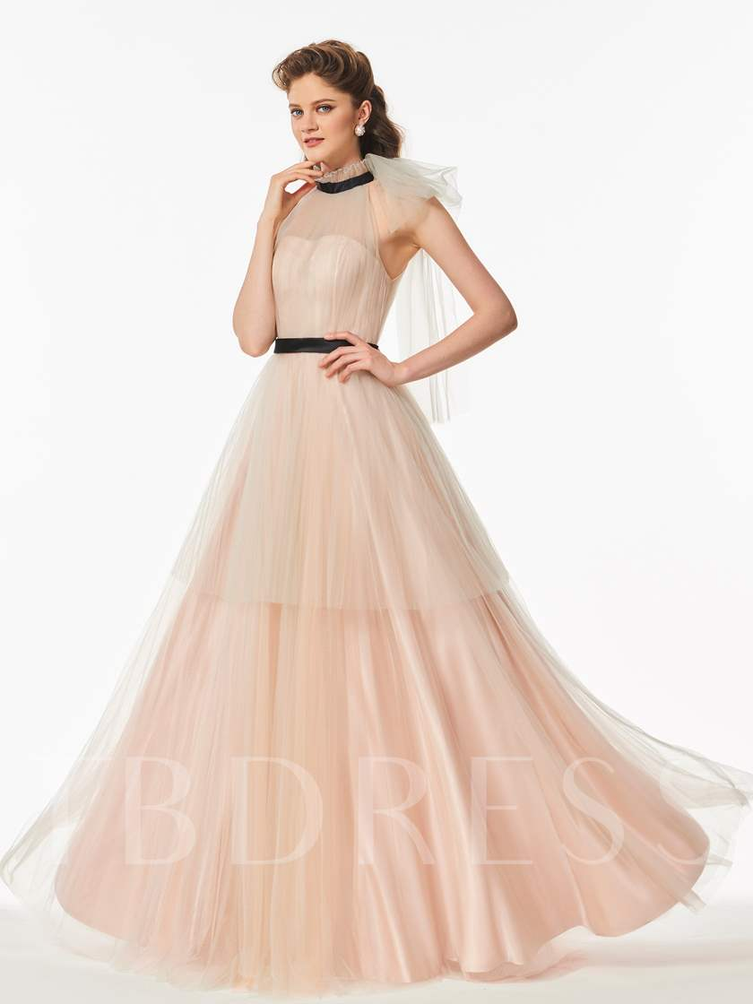 A-Line Jewel Tiered Sashes Floor-Length Prom Dress
