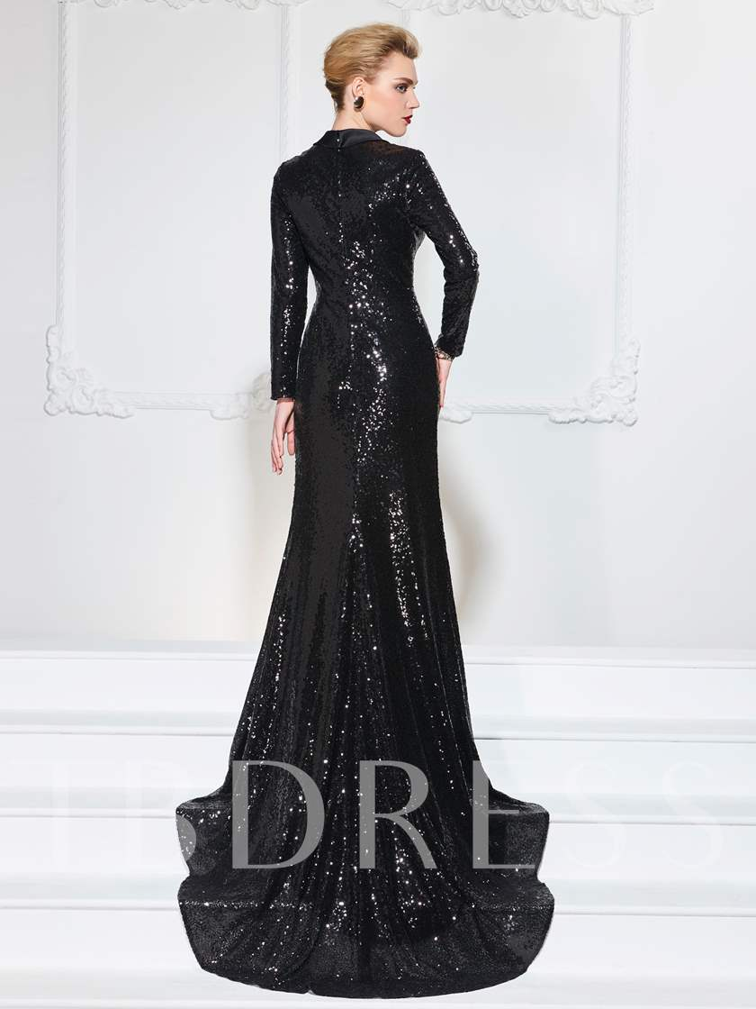 Mermaid Court Train Long Sleeves Sequins Evening Dress
