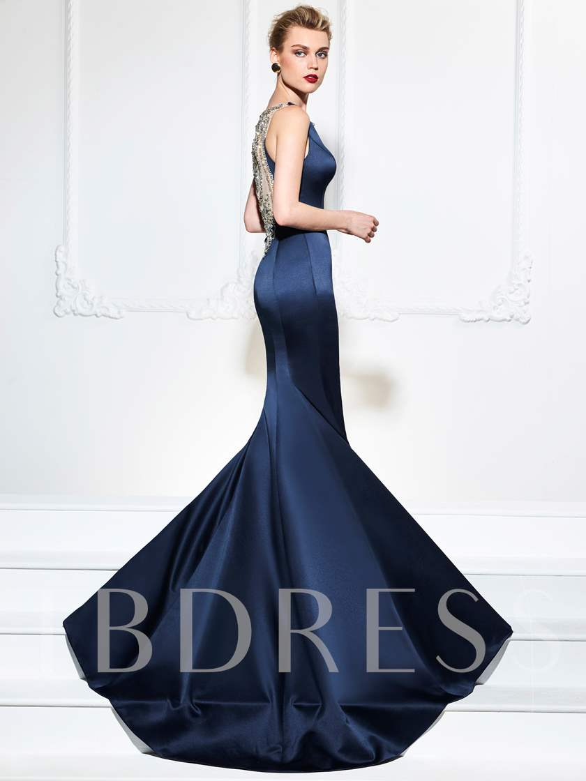 Bateau Trumpet Beading Rhinestone Evening Dress