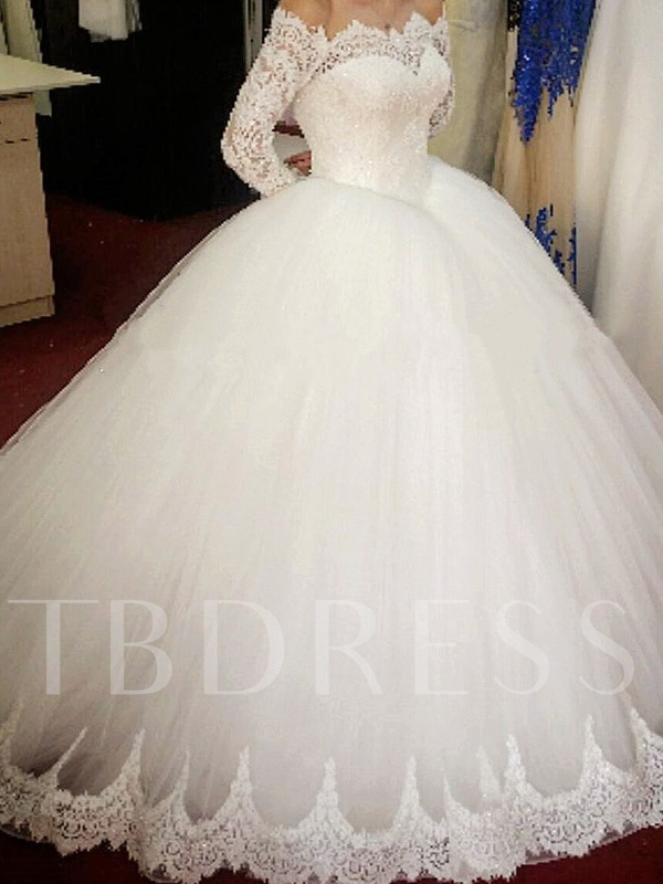 Lace Ball Gown Wedding Dress with Long Sleeves