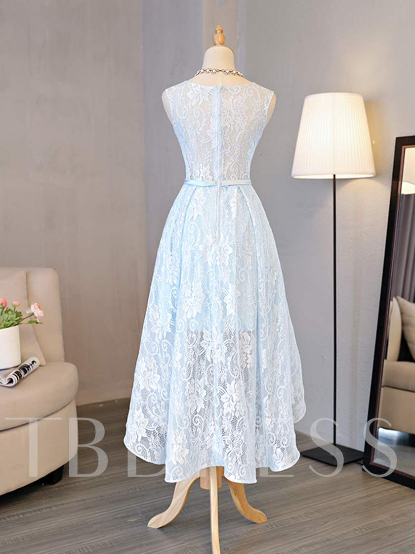 Scoop Neck High Low Lace Bridesmaid Dress