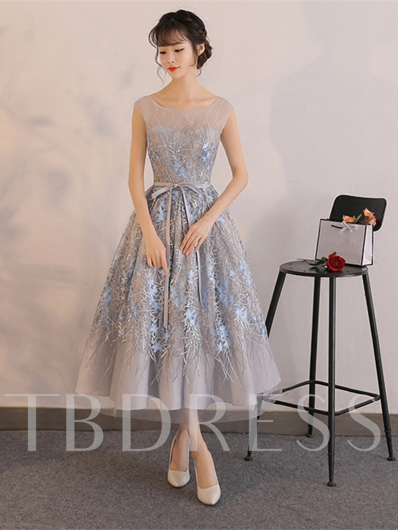 Scoop Bowknot Lace A-Line Sashes Sleeveless Tea-Length Prom Dress