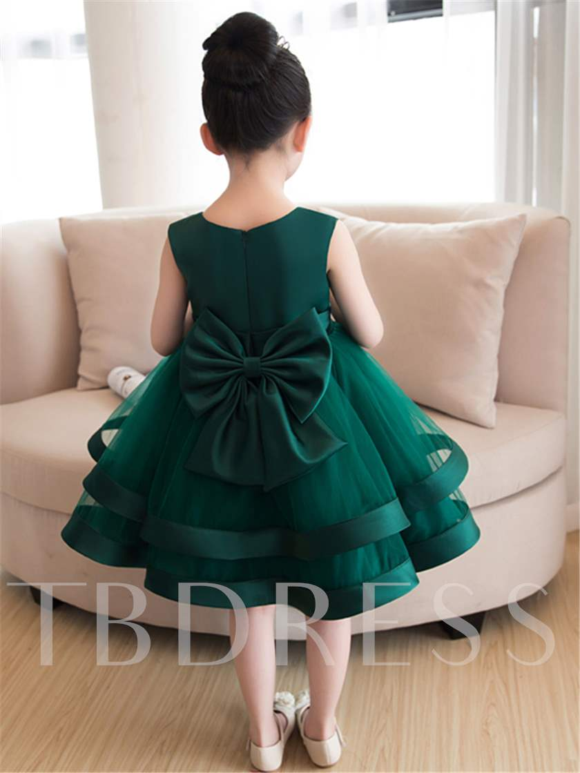 Round Neck Flowers Knee-Length Girls Party Dress