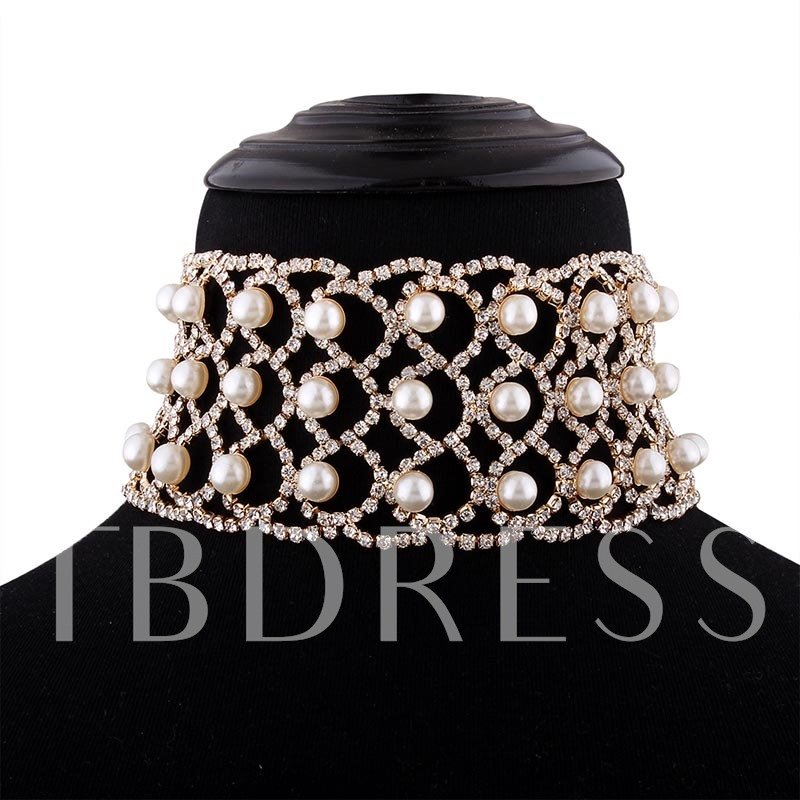 Diamante Hollow Pearl Inlaid Choker Necklace