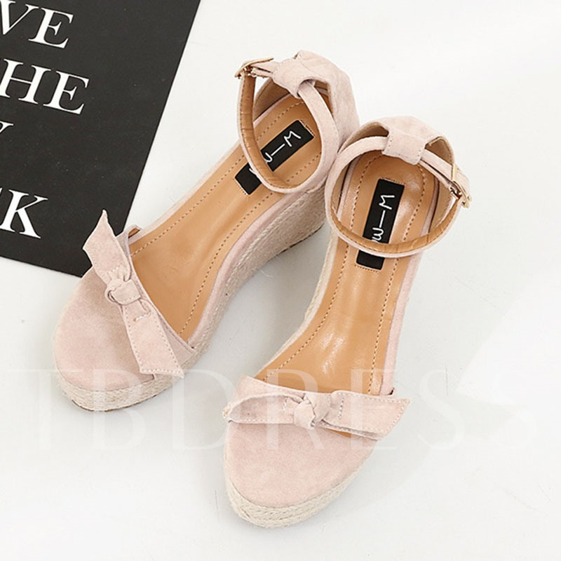 Bowtie Appliques Wedge Heels Line-Style Buckle Women's Sandals