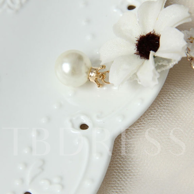 Sweet Lace Hollow Out Flower Alloy Pearl Anklet