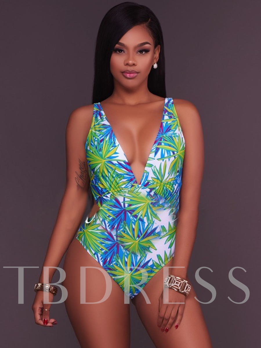 Deep V-Neck Floral Backless One Piece Swimsuit