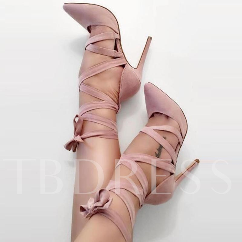 Cross Strap Lace-Up Pointed Toe Pumps