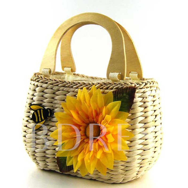 Cute Style Bee and Floral Design Straw Bag