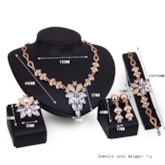 Alloy Flower Shaped Stone Diamante Four Piece Jewelry Sets
