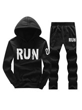 Hooded Letter Print Plain Men's Sports Suits