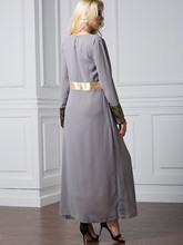 Plus Size Long Sleeve Gray Women's Maxi Dress