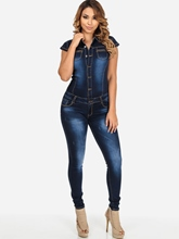 Dark Blue Skinny Denim Patchwork Women's Jumpsuit