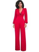 V-Neck Lace-Up Slim Plain Women's Jumpsuit