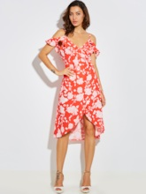 Spaghetti Strap Vacation Flower Print Backless Women's Day Dress