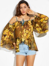 Loose Flower Print Vacation Bell Sleeve Women's Blouse