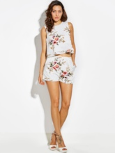 Vacation Slim Flower Print Thin Women's Shorts