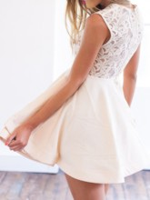 A-Line Lace Scoop Short Sleeves Homecoming Dress