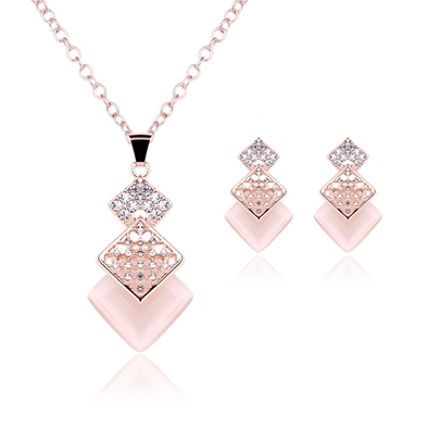 geometric hollow out pink diamante stone jewelry sets