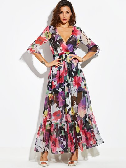 Bohemian Floral Long Sleeve V Neck Vacation Women's Maxi Dress